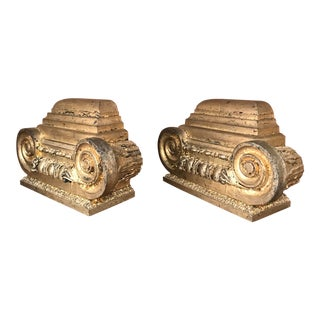 Early 20th Century Carved and Embellished Gilt Wood Neoclassical Pilaster Capital Architectural Elements as Bookends - a Pair For Sale