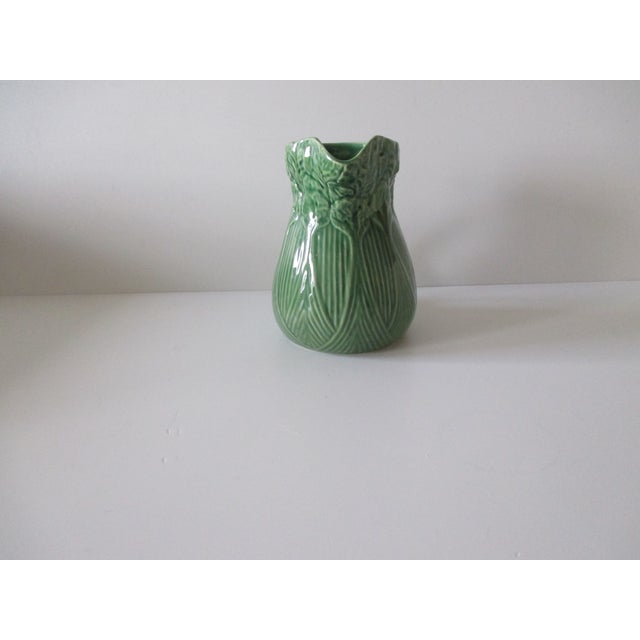 Vintage Celery Green Pitcher Handcrafted in Portugal For Sale - Image 4 of 7