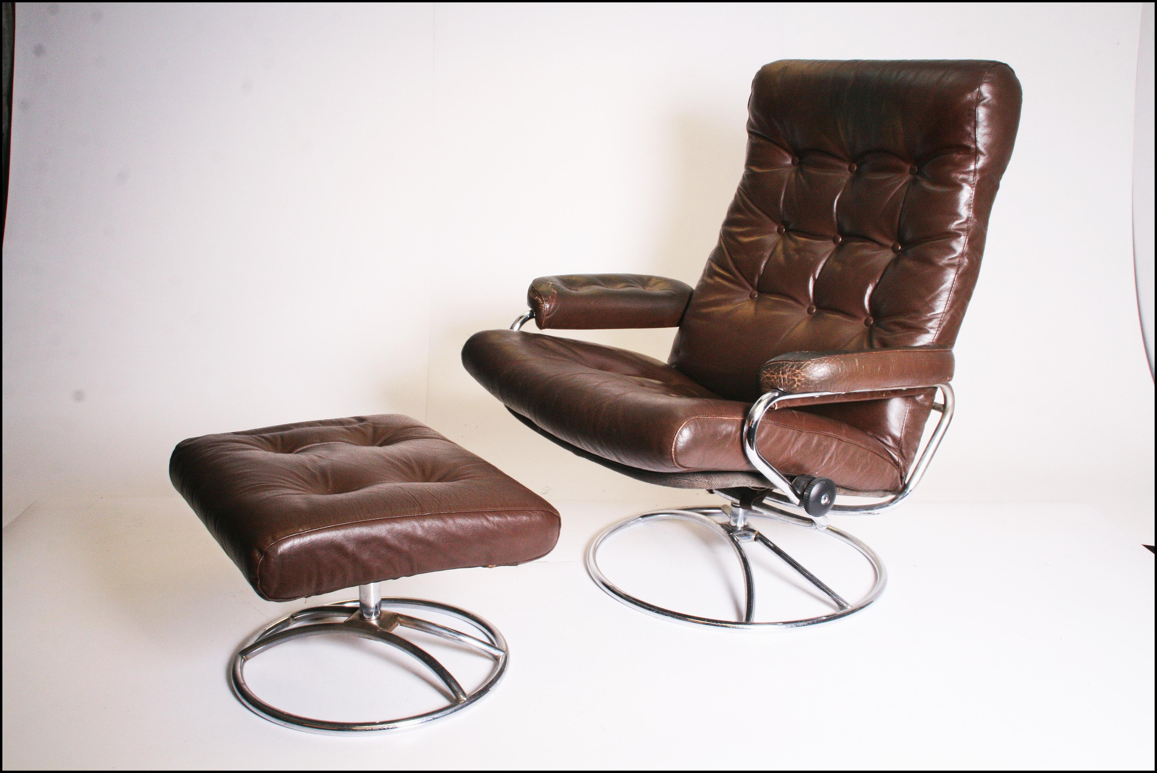 Mid Century Modern Brown Leather Ekornes Stressless Lounge Chair U0026 Ottoman    Image 2 Of 11
