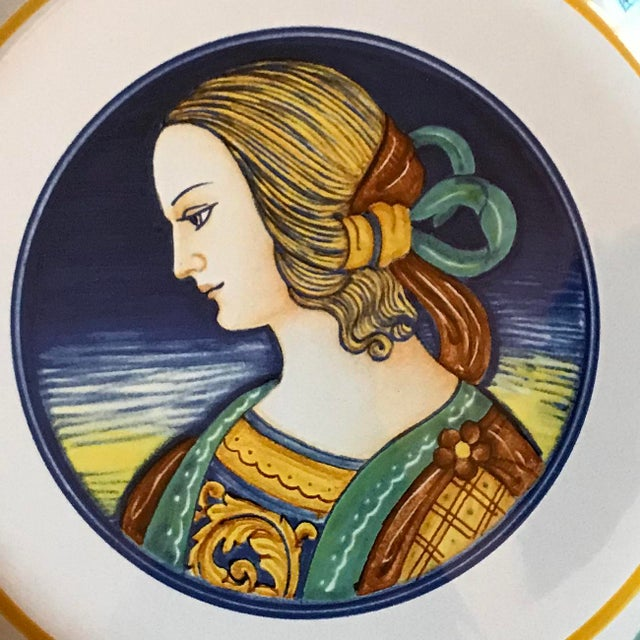 This exquisitely hand painted Majolica ceramic platter from Deruta, Italy features a portrait of a Renaissance woman with...