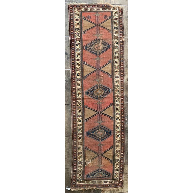 """Geometric Antique Turkish Runner - 12' 4"""" X 3' 8.5"""" For Sale - Image 10 of 10"""