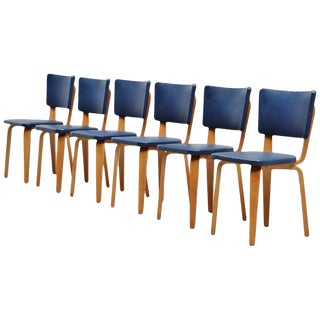 Cor Alons Plywood Dining Chairs in Blue Faux Leather