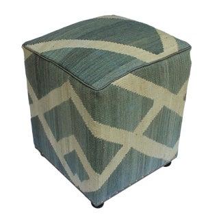 Arshs Daniel Gray/Ivory Kilim Upholstered Handmade Ottoman For Sale