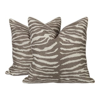Coffee Sateen Zebra Pillows, Pair For Sale