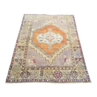 1950s Mid-Century Modern Turkish Oushak Rug- 3′8″ × 5′5″ For Sale