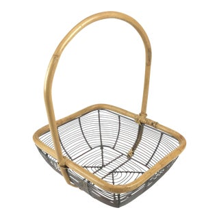 French Vintage Wire Bamboo Egg Basket For Sale