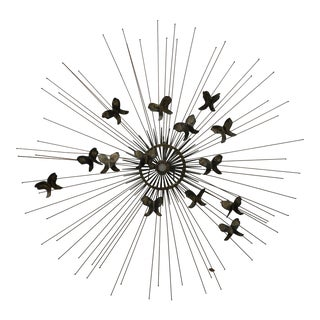 Vintage Mid-Century Degroot Brutalist Butterfly Sunburst Wall Sculpture For Sale