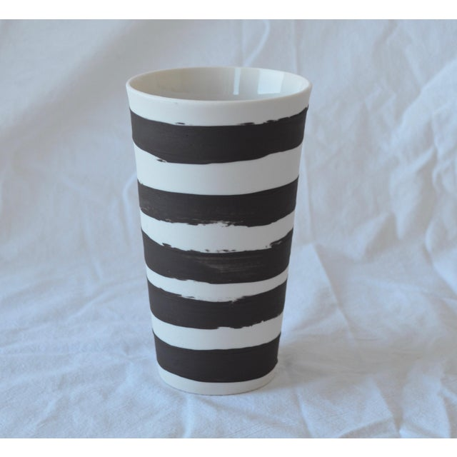2010s Contemporary Ceramic Striped Cylindrical Vessels - Set of 5 For Sale - Image 5 of 13