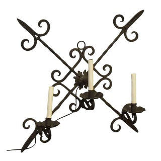 Wrought Iron Three Arm Sconce For Sale