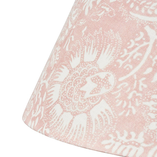 Contemporary Schumacher Pomegranate Print Linen Lampshade in Petal For Sale - Image 3 of 5