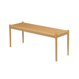 Niels O. Møller Woven Seat & Beech Frame Bench For Sale