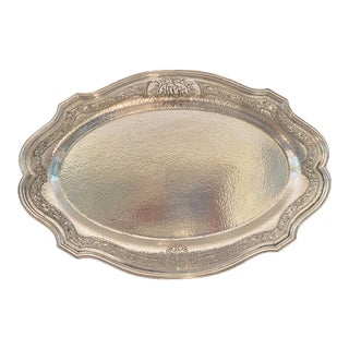Antique Silver Monogrammed Platter Tray For Sale