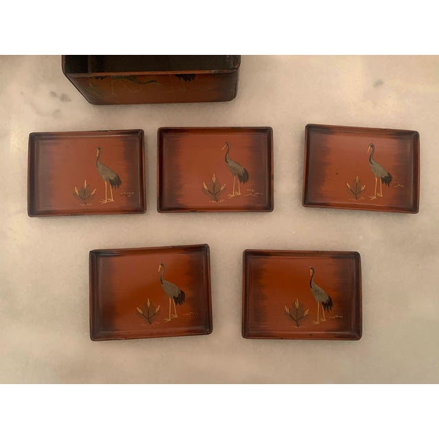 Vintage Japanese Lacquer Stacking Bento Box with Cranes, C 1940s For Sale - Image 11 of 13