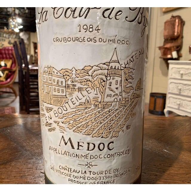 Wood Tall Vintage French Trompe l'Oeil Ceramic Methuselah Wine Bottle of Bordeaux For Sale - Image 7 of 12