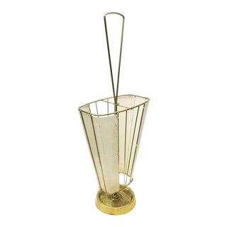 Mid-Century Italian Brass Umbrella Stand, 1960s For Sale