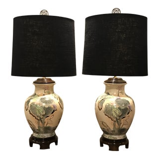 Hand Painted Ginger Jar Table Lamps - a Pair For Sale