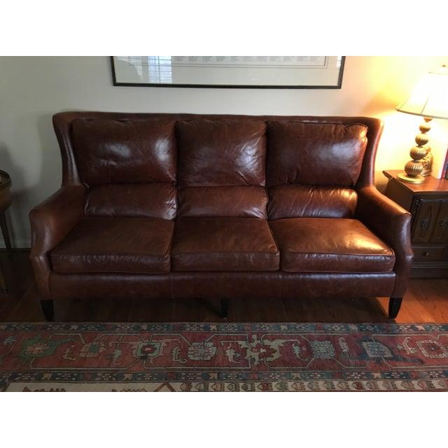 Mid-Century Modern Arhaus Alex Leather Sofa For Sale - Image 3 of 5