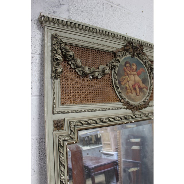 Early 18th Century Antique French Painted Trumeau Mirror For Sale - Image 4 of 6