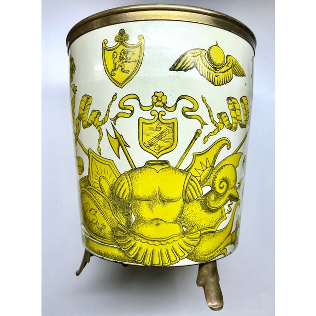 Black 1950s Piero Fornasetti 'Golden Armory Crest' Metal Waste Paper Bin For Sale - Image 8 of 8