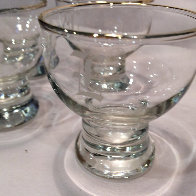 """Vintage """"L """" Monogrammed Crystal Aperitif Glasses - Set of 6 - Image 9 of 11"""
