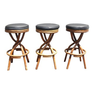 Mid-Century Bentwood & Black Vinyl Bar Stools - Set of 3