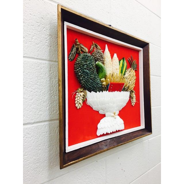 Vintage Folk Art Seashell Fruit Basket Painting in Frame For Sale - Image 9 of 11