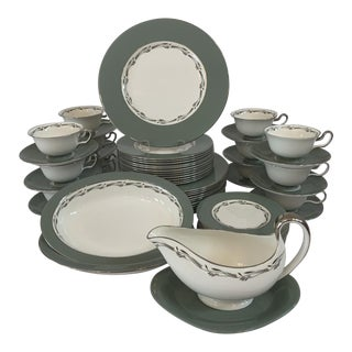 """1950s Vintage """"Halford"""" Wedgwood Bone China Service for 12 - 52 Pieces For Sale"""