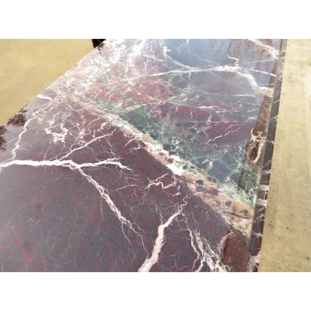 20th Century Hollywood Regency Variegated Marble Pedestal Console or Entryway Table For Sale - Image 12 of 13