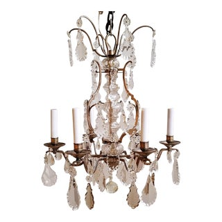 1920s French Nickel Plated on Brass and Crystal Chandelier For Sale