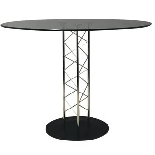 Italian Glass & Chrome Round Table For Sale