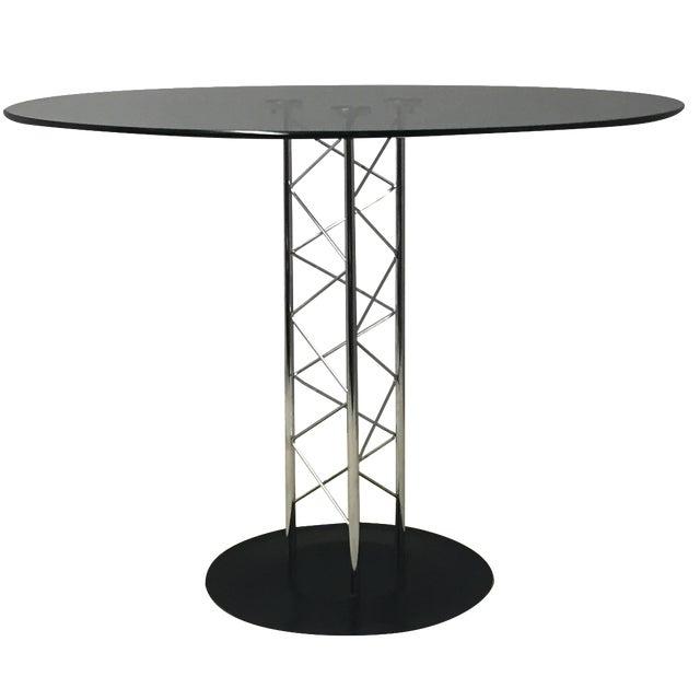 Italian Glass & Chrome Round Table For Sale