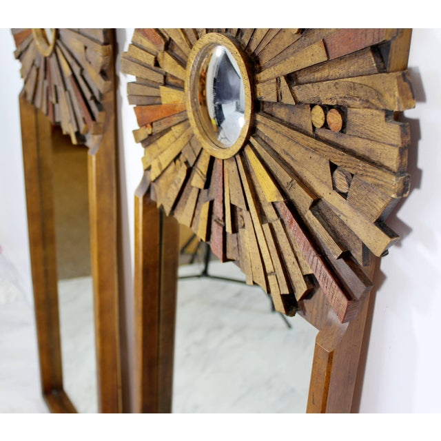 Brown Mid-Century Modern Pair of Lane Brutalist Wood Mirrors for Mosaic Line Evans Era For Sale - Image 8 of 11