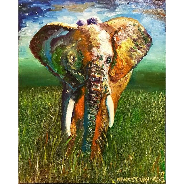 Original Oil Painting of Elephant, Framed For Sale - Image 10 of 11
