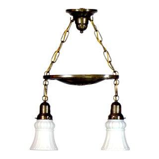 Two Light Brass Pan Fixture