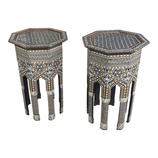 1920s Syrian Fabulous Mother of Pearl Octagonal Side Tables - a Pair For Sale