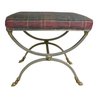 1940s Vintage Brass and Chrome Italian Bench For Sale