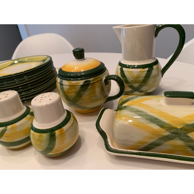 Green Vintage Mid-Century Vernonware Gingham Dinnerware - 40 Piece Set For Sale - Image 8 of 13