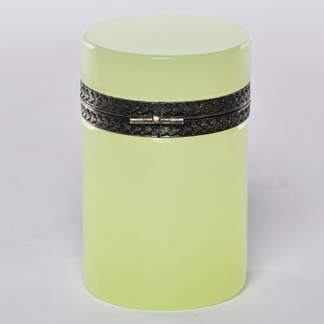 1920s French Opaline Uranium Glass Cylindrical Hinged Box For Sale - Image 5 of 8