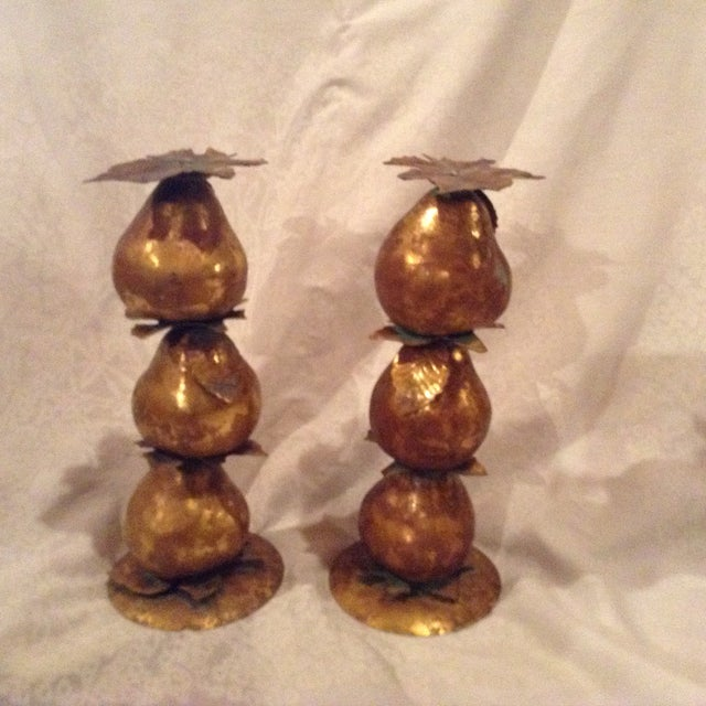 Metallic Pear Candle Holders - A Pair - Image 3 of 3