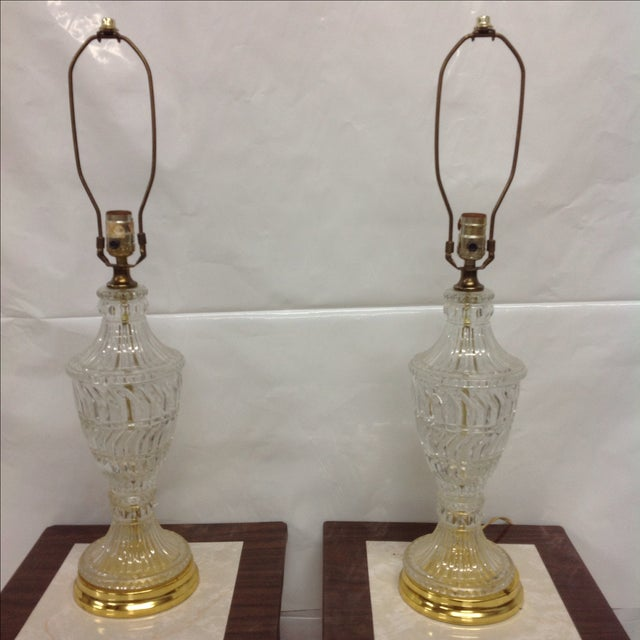 Hollywood Regency Crystal & Brass Lamps - A Pair - Image 2 of 5