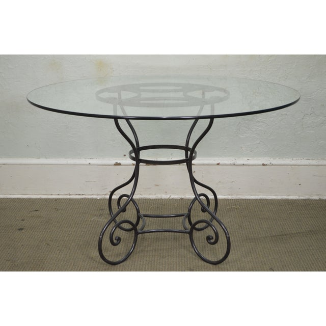 "Traditional Custom Wrought Iron Base 48"" Round Glass Top Dining Table For Sale - Image 3 of 11"