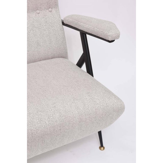 Contemporary 1950s Italian Mid-Century Modern Gray Upholstered Settee For Sale - Image 3 of 10