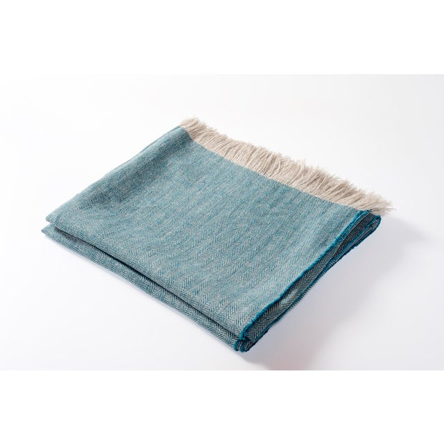 2010s Contemporary Turquoise Linen Throw For Sale - Image 5 of 5