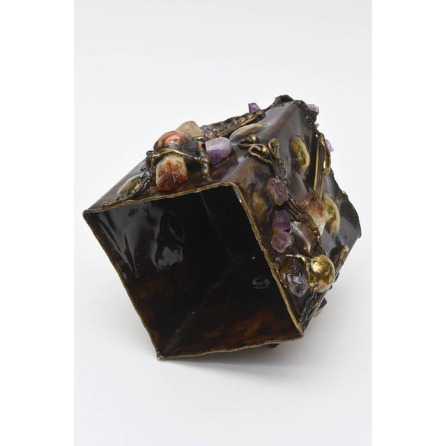 Brutalist Sculptural Mixed Metal and Amethyst, Quartz Tissue Box/ SAT.SALE For Sale - Image 10 of 10