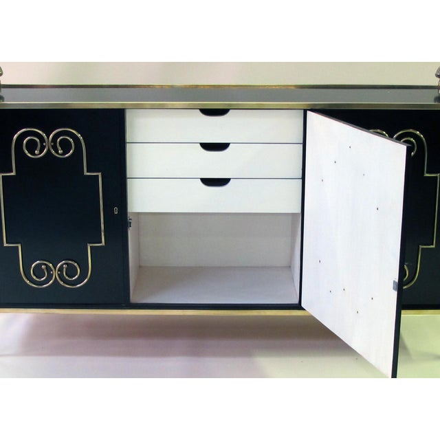 truly one-of-a-kind, chic server with rectangular inset top within a solid brass border adorned with over-scaled pineapple...