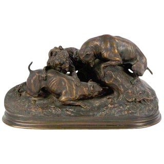 Three Dogs Burrowing 'Chase Au Lapin', by Pierre-Jules Mêne For Sale