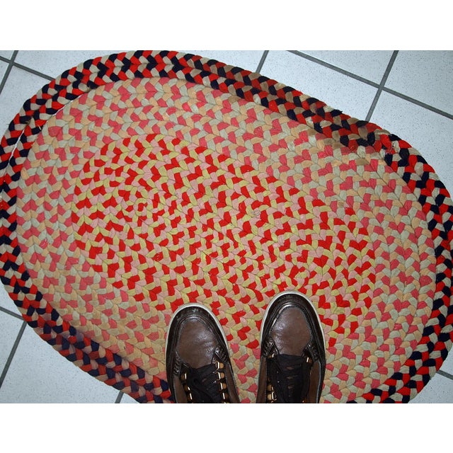 1920s handmade antique American Braided rug 1.9' x 2.7' For Sale In New York - Image 6 of 11