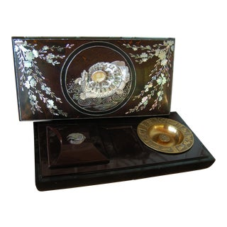 Vintage Asian Rosewood Mother of Pearl Laquer Ware Inlay Cigarette Box For Sale