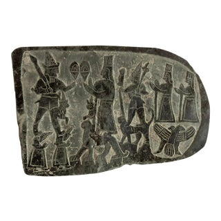 Hand-Carved Slate Hieroglyphics Plaque For Sale