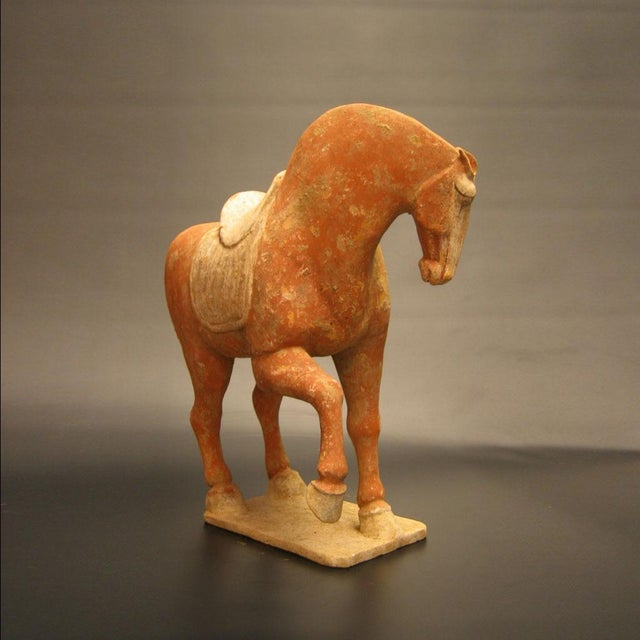 Asian A Tang Dynasty Red Painted Pottery Prancing Horse For Sale - Image 3 of 3